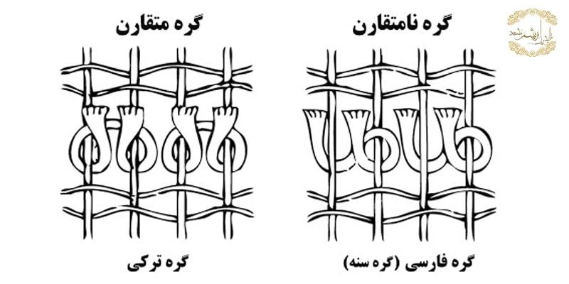 انواع گره ها در بافتن فرش ایرانی